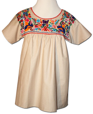 Mexican Puebla Embroidered Blouse Khaki XL