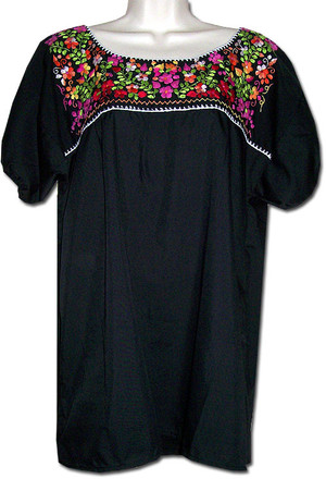 Mexican Puebla Embroidered Blouse Black 4XL
