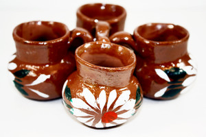 Mini Party Favor Mexican Tequila Shot Glass Clay - Set of 10