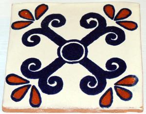 Mexican Talavera Tile - Blue Tan