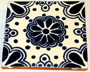 Mexican Talavera Tile - Blue Design