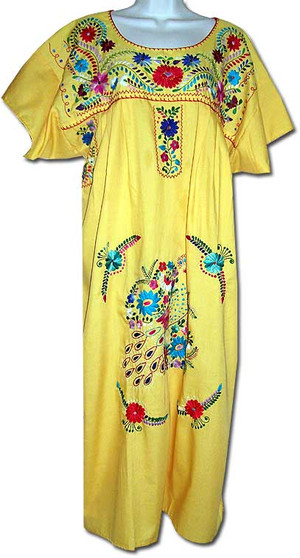 Yellow Mexican Embroidered Puebla Dress L