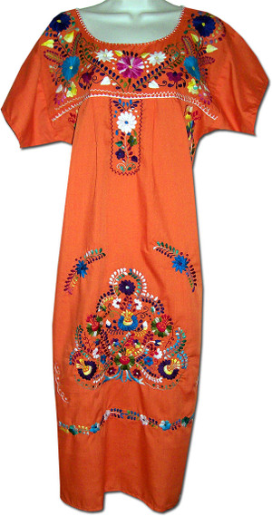 Orange Mexican Embroidered Puebla Dress M