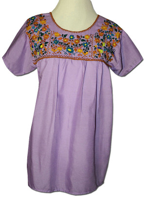 Embroidered Peasant Blouse Lavender XXL