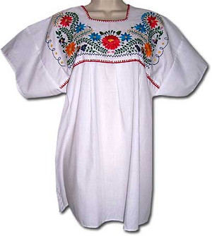 White Mexican embroidered blouse M