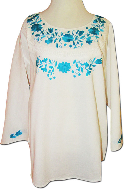 Embroidered Oaxacan Peasant White Huipil Blouse XL