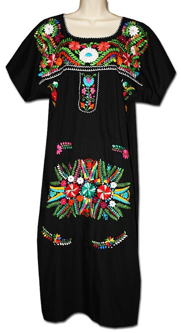 Black Mexican Embroidered Puebla Dress XL