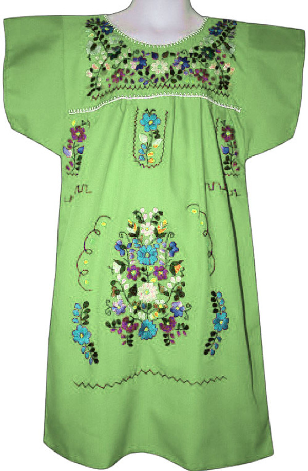 Mexican Fiesta Embroidered Dress Lime Green Size 4