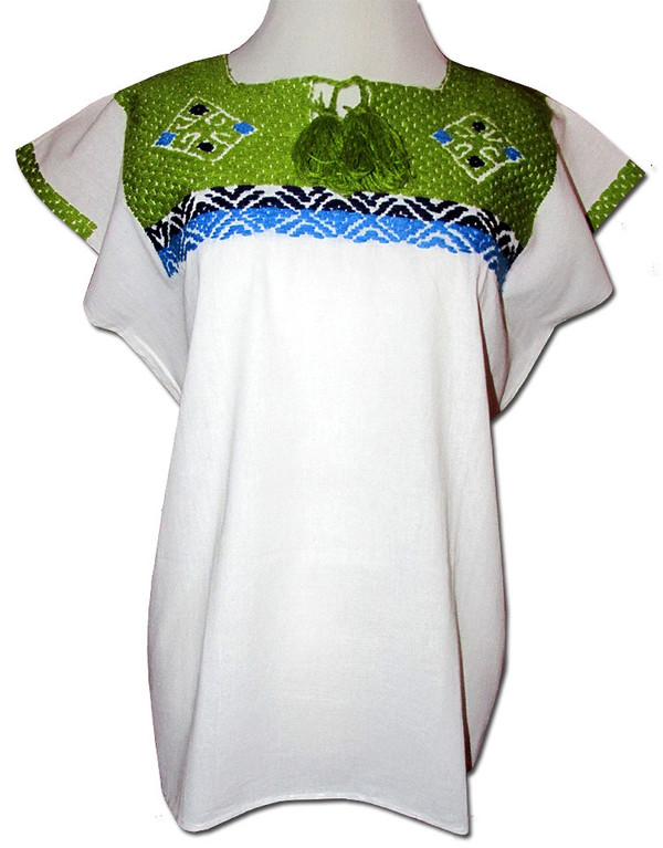 Embroidered Oaxacan Peasant Green Huipil Blouse M
