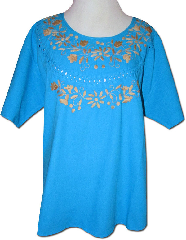 Embroidered Oaxacan Peasant Turquoise Blouse XL