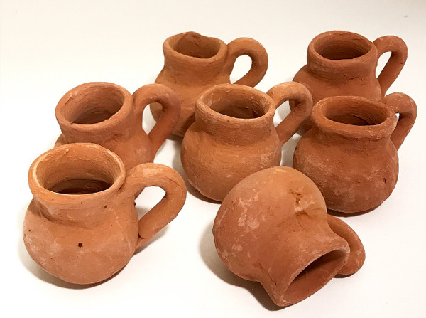 Mini Party Favor Mexican Tequila Clay Pottery Jugs - Set of 10
