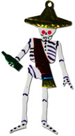Mexican Tin Christmas Ornament - Calavera Drunk