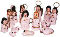 Christmas Creche Mexican Nativity Set Pink