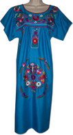 Blue Mexican Embroidered Dress M