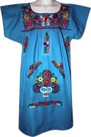 Mexican Fiesta Embroidered Dress Turquoise Size 4