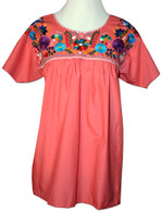 Mexican Embroidered Blouse Orange M