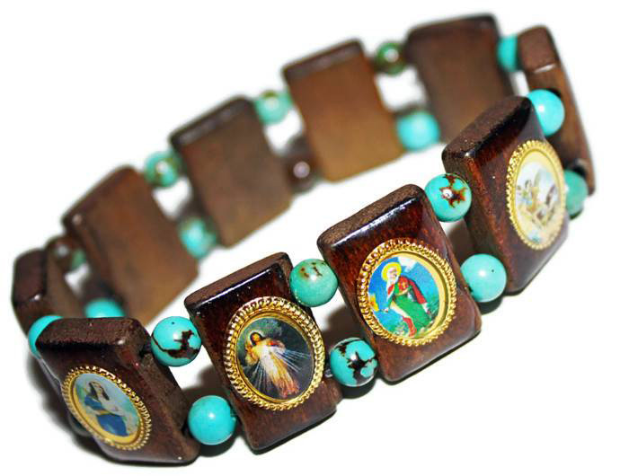 mexican catholic saints turquoise bead bracelet my