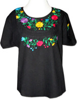 Embroidered Oaxacan Peasant Black Blouse M