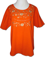Embroidered Oaxacan Peasant Orange Blouse XL