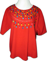 Embroidered Oaxacan Peasant Red Blouse XXL