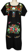 Black Mexican Embroidered Puebla Dress L