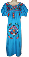 Turquoise Mexican Embroidered Puebla Dress L