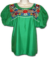 Mexican Embroidered Blouse Green M