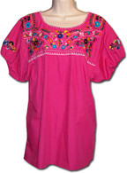 Mexican Embroidered Blouse Pink S