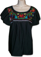 Mexican Embroidered Blouse Black S