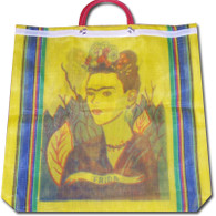 Frida Kahlo Mexican Mercado Plastic Shopping Bag