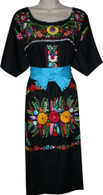 Black Mexican Embroidered Puebla Dress XXL