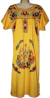 Yellow Mexican Embroidered Puebla Dress XL