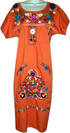 Orange Mexican Embroidered Puebla Dress S