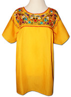 Yellow Mexican embroidered blouse S