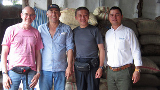 With Mr Martinez, one of our cacao farmers in Colombia and he manages the Association of Small Cocoa Farmers in the municipal of Campoalegre