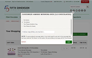 Pop-up window for reviewing or modifying the personalised message option on our chocolate boxes