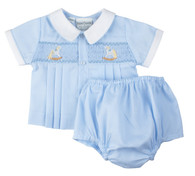 Smocked Rocking Horse 2 Piece Diaper Set
