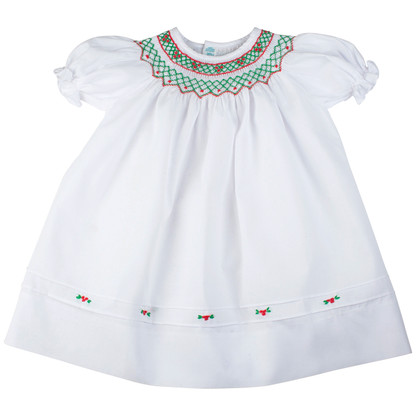 Holiday collection girls short sleeves smocked holiday dress w floral