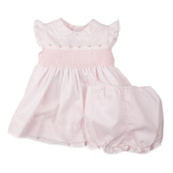 Smocked Lace Fly Sleeve Dress