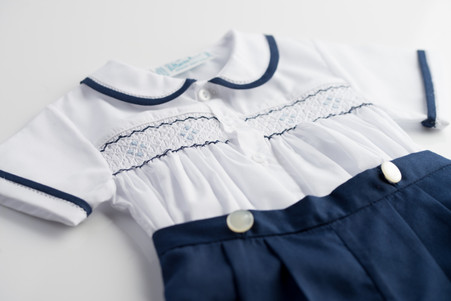 2 Piece Navy Smocked Bobby Suit
