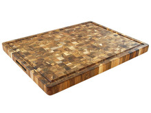 Proteak End Grain Rectangle Board With Handles and Juice Groove Overview