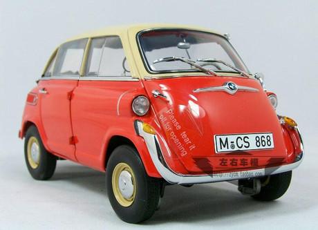 1 18 bmw 600 isetta orange red diecast car model. Black Bedroom Furniture Sets. Home Design Ideas