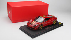 LIMITED 20! BBR HANDMADE RESIN 1/18 FERRARI 458 SPECIALE (Red w/ Gold Stripes & Rims))!