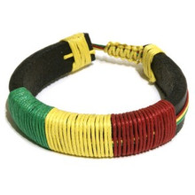 RASTA COLORED  LEATHER BRACELET