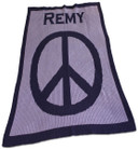 Large Peace Sign Personalized Stroller Butterscotch Blankee
