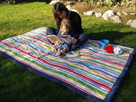 Multi Color Stripe Water Resistant Outdoor Blanket by Tuffo