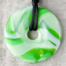 Green Swirl Donut Pendant Teething Bling Necklace