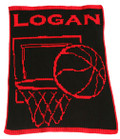 Personalized Butterscotch Stroller Blankee with Basketball
