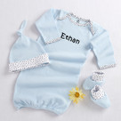 """""""Welcome Home Baby!"""" 3-Piece Layette Set in Keepsake Gift Box (Blue)"""