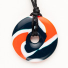 NFL Orange & Blue Pendant Teething Bling Necklace